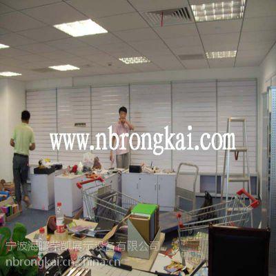 供应荣凯RK1005钛合金文具礼品双面槽板展示柜 厂家定做包安组装