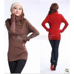 供应秋冬新款修身针织式中长款毛衣加厚高领女装淑女蕾丝堆堆领打底衫