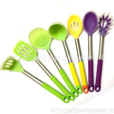 厂家直销硅胶厨具 不粘锅套装厨具 硅胶烹饪套装 7件套厨房用品