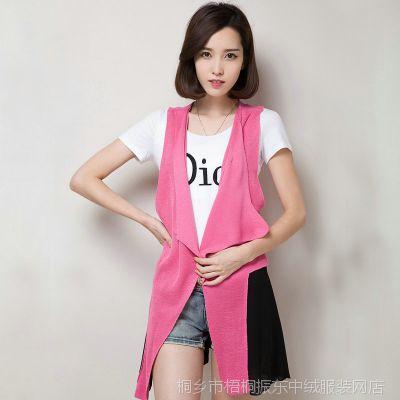 厂家直销秋装韩版针织中长款开衫无袖背心女装宽松拼贴外套 批发