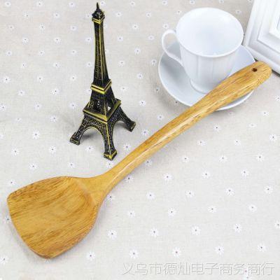 木质厨具烹饪铲勺 39cm本色木质一等品锅铲 长柄无结大锅铲批发