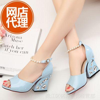 淘宝鞋子代理免费加盟2015夏季珍珠凉鞋坡跟高跟鱼嘴水钻韩版女鞋
