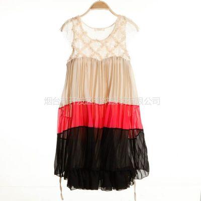 供应2013春季新款日韩女装 宜春女装t恤中长款打底衫 雪纺拼接连衣裙