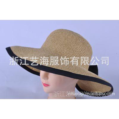 供应新款女士 户外草质时装帽子 夏天防晒遮阳帽 大檐帽 帽子批发 工厂订做