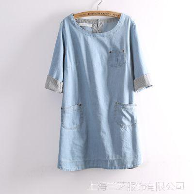 145-0033批发供应森女森系复古简约口袋七分袖水洗牛仔连衣裙短裙