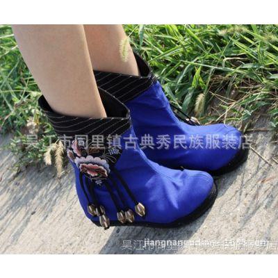 民族风布鞋女靴春秋保暖靴鞋民族风中筒短靴内增高布靴绣花靴