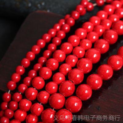 天然红松石 优化红松石 高亮优质红松石圆珠 DIY佛珠饰品配件批发