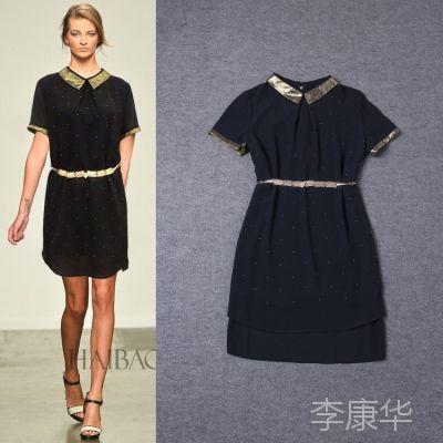 2014夏季新款 高档欧美外贸女装 批发 走秀款 金色领子连衣裙9046