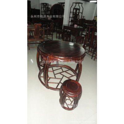 永州家具供应古典中式家具 竹节圆桌六件套 福源木业