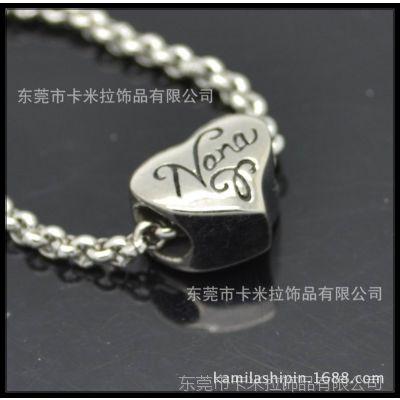 不锈钢珠子 大孔珠子心形 diy饰品配件 不锈钢配件批发 饰品
