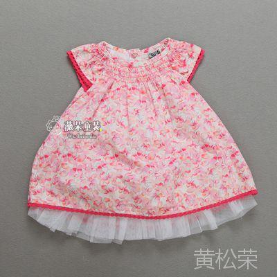 外贸原单童装批发 女童连衣裙 女孩儿碎花裙子 白色印花