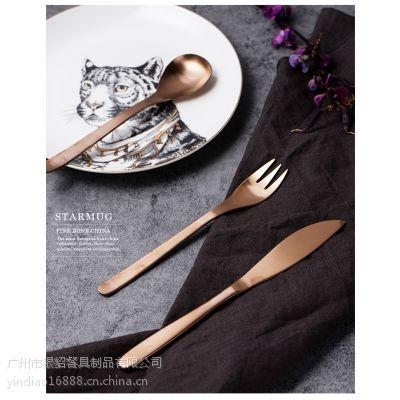 柳宗理出口日本ATHENA同款玫瑰金不锈钢主餐刀叉勺甜品叉西餐具