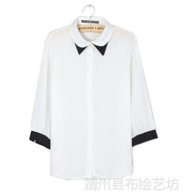 欧美女装批发  黑白撞色双层领七分中袖雪纺衬衫
