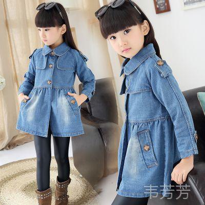 2015一件代发女童秋装牛仔风衣外套2015韩版儿童中小童牛仔外套