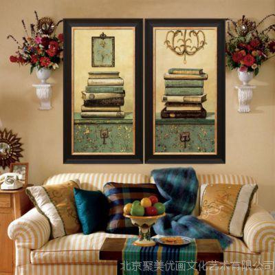 客厅现代简约装饰画餐厅墙壁 上 欧式美式三联大气走廊竖版挂框画
