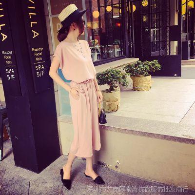 小银子2015夏装新款时尚卷边袖上衣+七分阔腿裤套装女D5430