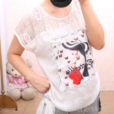 2015夏季新款 韩版 大牌美女印花钩花雪纺衫 女式短袖T恤批发 潮