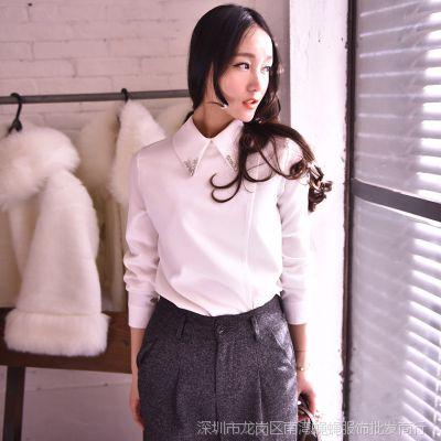 2015早春新款欧美复古V型水钻装饰翻领分层修身白色衬衫衬衣女