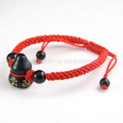 供应开光正品 黑曜石葫芦手链 法令符 六字真言 生肖蛇必备 红绳手链