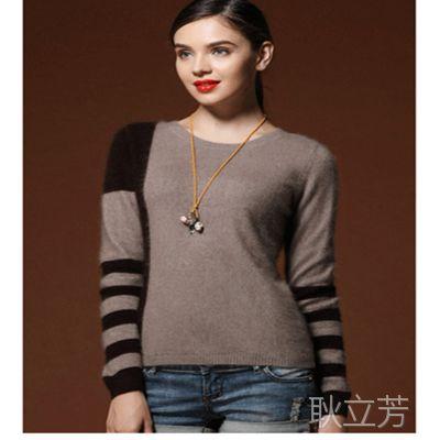 特价女式短款拼色纯貂绒衫 韩版打底衫 宽松加厚毛衣外套 针织衫
