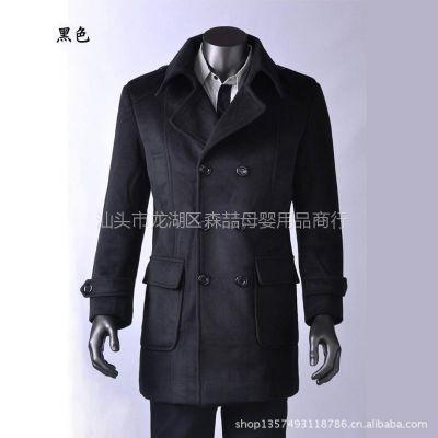 供应库存品质超值抛售新款秋冬男式中长款羊绒呢子大衣外套