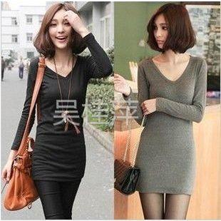 供应2012韩版秋装新款女装百搭纯棉V领长袖t恤长款打底衫包臀 T870