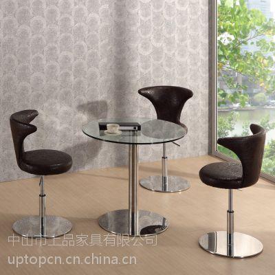 厂家直销供应现代时尚动感可旋转,商务所用软包休闲不锈钢脚餐桌椅
