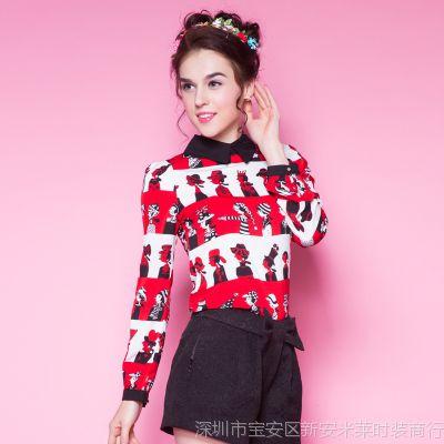 东大门衬衣春装新款时尚雪纺上衣 韩版娃娃领印花长袖衬衫女