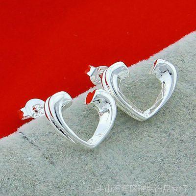 外贸出口925纯银饰品 时尚半心 韩版 T家首饰批发 耳饰耳钉ES027