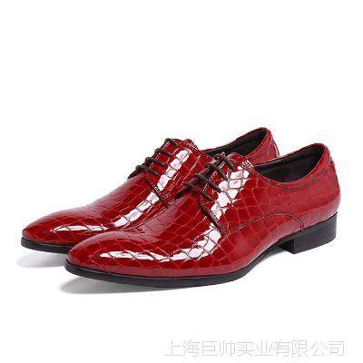 外贸男式单鞋欧版正装真皮皮鞋男牛漆皮日常工作穿纯皮大气大红色