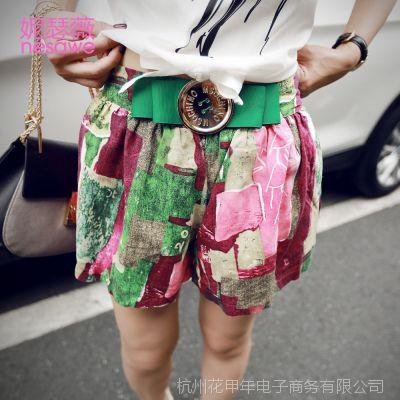 品牌女装夏季新款 韩版印花短裤潮 松紧腰带装饰宽松直筒热裤大码