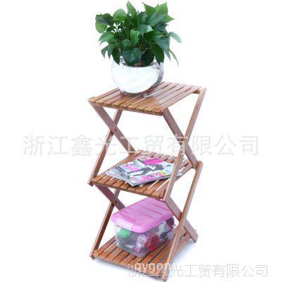 鑫光正品楠竹折叠花架 竹制花几多层花架储物架 创意居家收纳架