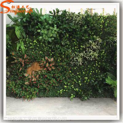 厂家供应室内装饰仿真草墙 绿色环保植物墙 假山泡沫植物墙