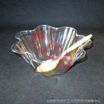 一次性刨冰碗冰粥碗梅花冰粥碗肯德基冰粥碗PET材质高透明