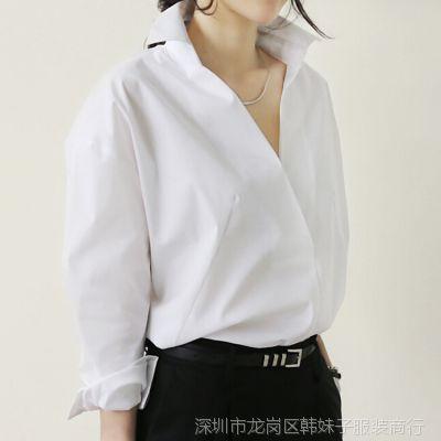 韩版女装宽松大码长袖V领纽扣女式衬衫打底女装货源 一件代发