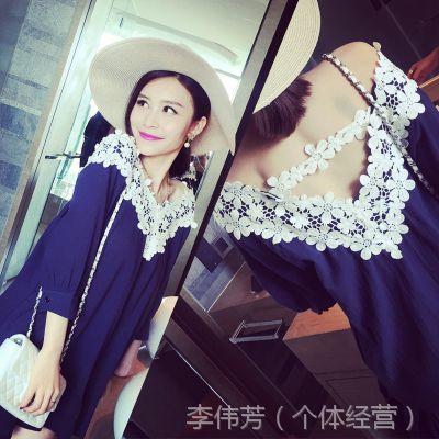 小银子2015夏装新款唯美V领水溶蕾丝拼接棉质连衣裙