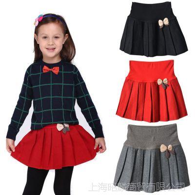 春秋冬季女童装羊毛呢子半身裙韩国百褶小中童女孩短裙子