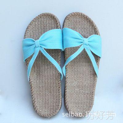 新金硕拖鞋 夏季家居拖鞋牛筋底足弓系列亚麻拖鞋批发 女 8339 蓝