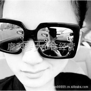 供应9147推荐黑色男女通用大方框方形墨镜 太阳镜蛤蟆镜