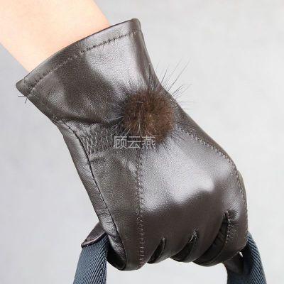 供应麦穗条水貂毛球绵羊皮手套 女式真皮手套 多色可选 2056