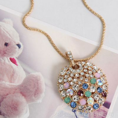 2013欧美流行饰品 长款镶宝石项链 圆形彩色钻石毛衣链 厂家直批