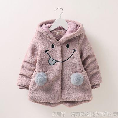 冬装新款中大童韩版时尚潮流可爱卡通加绒加厚女童毛呢大衣M11C67