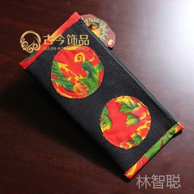 1300#方形长款牡丹一字包 女 零钱袋 笔袋 云南手工包包