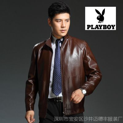 厂家直供春秋男式真皮皮衣单层商务绅士立领绵羊皮衣夹克男装外套