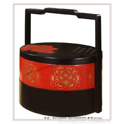 【工厂定制】手提式食盒 双层提篮式食品木盒 高档木制食盒定做