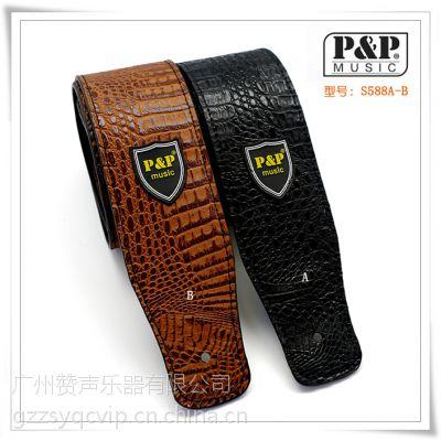 广州工厂直销PU皮电吉他背带 皮革电贝斯背带 鳄鱼个性吉他背带