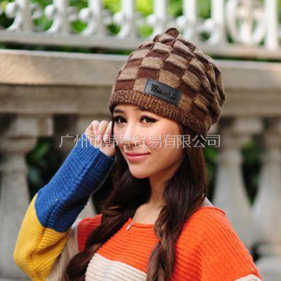 供应韩版可爱秋冬毛线帽子围巾针织帽 空顶帽 两用帽