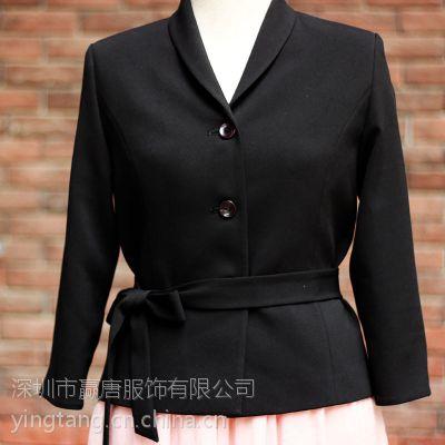 毛料西装配仿真丝长裙职业套装女装