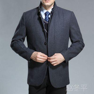 2014秋冬新款梦特娇男士夹克商务时尚羊绒茄克中年立领男装批发05