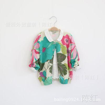 my14-029【欧美】纯棉彩线大花时尚花朵女童毛衣开衫